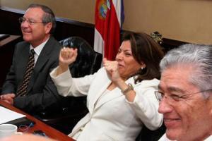Costa Rica president Laura Chinchilla celebrates the nation's rise in ranking